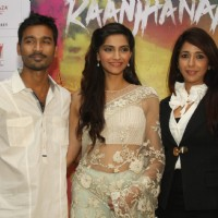 Sonam Kapoor, Dhanush and Krishika Lulla at the press meet for the film 'Raanjhanaa' in New Delhi | Raanjhanaa Event Photo Gallery