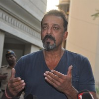 Sanjay Dutt addresses the press after coming out in parole