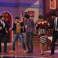 The cast of Gunday and Kapil Sharma perform with an audience member | Gunday Event Photo Gallery