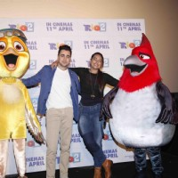 Imran and Sonakshi at the Trailer launch of film Rio 2 with the characters