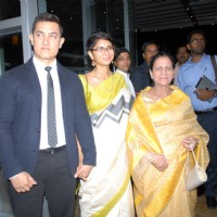 Kiran Rao and Aamir Khan with his mother was at the Launch of 'Substance and the Shadow'