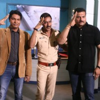 Aditya Srivastava, Ajay Devgn and Dayanand Shetty give a salute pose for the camera on C.I.D