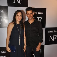 Sharman Joshi with wife pose for the media at the Birthday Bash cum Launch