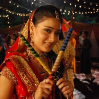 Sadhna with Dandiya sticks