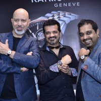 Shankar, Ehsaan and Loy pose with watches at the Launch of Raymond Weil Store