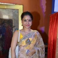 Sumona Chakravarti poses for the media at North Bombay Sarbojanin Durga Puja