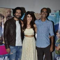 Ali Fazal poses with Rhea Chakraborty and Rohan Sippy at Sonali Cable Media Meet