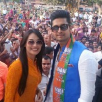 Surbhi Jyoti and Ravi Dubey campaign at Hissar