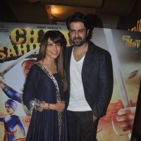Bipasha Basu poses with Harman Baweja at the Trailer Launch of Chaar Sahibzaade