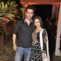 Sanjeeda Shaikh poses with Aamir Ali at Sachin Joshi's Diwali Bash