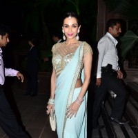 Malaika Arora Khan poses for the media at Arpita Khan's Wedding Reception