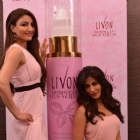 Soha Ali Khan and Chitrangda Singh pose for the media at the Launch of Livon Moroccan Silk Serum