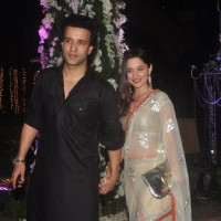 Aamir Ali poses with Sanjeeda Shaikh at the Sangeet Ceremony of Riddhi Malhotra and Tejas Talwalkar