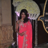 Priyanka Chopra poses for the media at the Wedding Reception of Riddhi Malhotra and Tejas Talwalkar