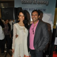 Dipannita Sharma poses with Joy Sengupta at Take It Easy Movie Launch