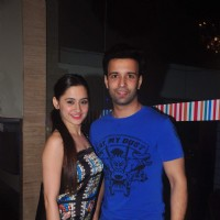 Aamir Ali and Sanjeeda Shaikh pose for the media at Ravi Dubey's Birthday Bash