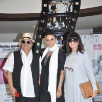 Neha Dhupia poses with Neeta Lulla and Subhash Ghai at Whistling Woods