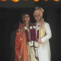 Soha Ali Khan and Kunal Khemu pose for the media at their Wedding Day