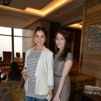 Simone Singh poses with a friend at Lancome Promotional Event