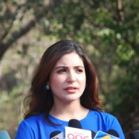 Anushka Sharma was snapped giving media bytes at the Promotions of NH10 on Savdhaan India