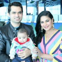 Veena Malik's Birthday Celebration with her husband and son