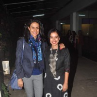 Gul Panag and Tillotama Shome pose for the media at the Screening Held by Rajkumar Rao
