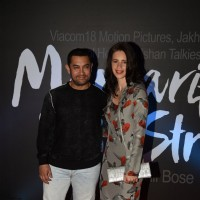 Aamir Khan and Kalki Koechlin pose for the media at the Trailer Launch of Margarita, with a Straw