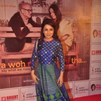 Tisca Chopra poses for the media at the Premier of the Play Mera Woh Matlab Nahi Tha