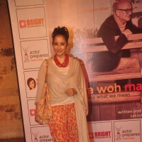Manisha Koirala poses for the media at the Premier of the Play Mera Woh Matlab Nahi Tha