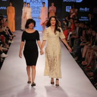 Sagarika Ghatge with Pallavi Singhee at the Lakme Fashion Week 2015 Day 1