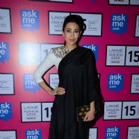Karisma Kapoor poses for the media at the Grand Finale of Lakme Fashion Week 2015