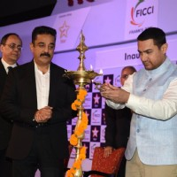 Aamir Khan lights the lamp at FICCI Frames 2015 Inaugural Session