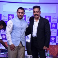 Aamir Khan and Kamal Haasan pose for the media at FICCI Frames 2015 Inaugural Session