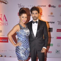 Gurmeet Choudhary and Debina Bonnerjee pose for the media at Femina Miss India Finals Red Carpet