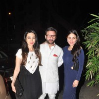 Saif Ali Khan with Karisma and Kareena Kapoor at Babita Kapoor's Birthday