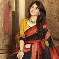 kritika kamra, black red bhagalpuri silk printed saree with unstitch blouse