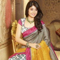 Kritika Kamra, white gray bhagalpuri silk printed saree with unstitch blouse
