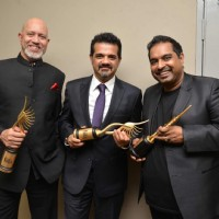 Shankar-Ehsaan-Loy With IIFA Trophy- Backstage of IIFA Awards