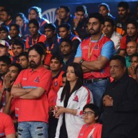 Aishwarya, Abhishek and Sanjay Gupta at Pro Kabaddi Launch