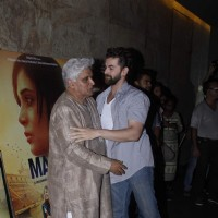 Javed Akhtar and Neil Nitin Mukesh at Special Screening of Masaan