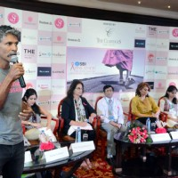 Milind Soman Interacts with Media at Pinkathon Press Meet