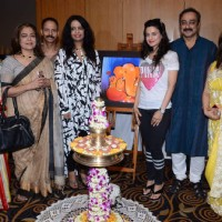 Ameesha Patel, Amruta Fadnavis, Reema Lagoo and Sachin Khedekar Snapped at an Art Exhibition