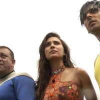 Lara Dutta with Sanjay Dutt and Zayed Khan