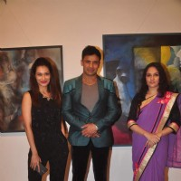 Sangram Singh and Payal Rohatgi at Gracy Singh's Art Exhibition