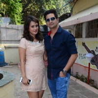 Karan Mehra and Nisha Rawal pose for the media at Diwali Celebrations