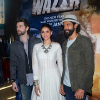 Neil Ntitin Mukesh, Aditi Rao Hydari and Farhan Akhtar at Trailer Launch of 'Wazir'