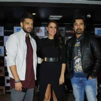 Neha Dhupia, Karan Kundra and Rannvijay Singh at Press Meet of MTV Roadies X4 in Delhi