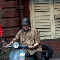 "Amitabh Bachchan riding a scooter for ""Te3n"""