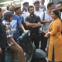 Amitabh Bachchan, Nawazuddin and Vidya Balan during shoot at Kolkata