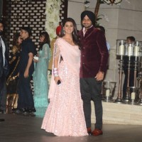 Harbhajan Singh with wife Geeta Basra at Mukesh and Nita Ambani's Bash
